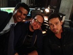 Sendhil, Austin Basis, and Jay Ryan on the set of BatB